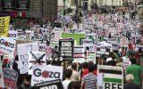 تظاهرات طرفداران فلسطین هم زمان با اجلاس گروه هفت در انگلیس